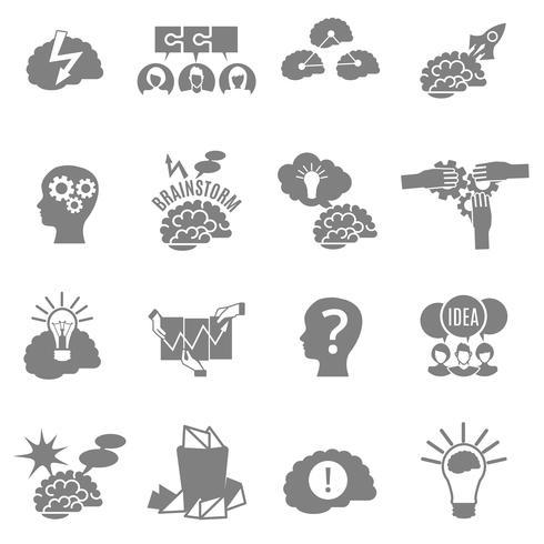 brainstorm platt ikoner uppsättning vektor