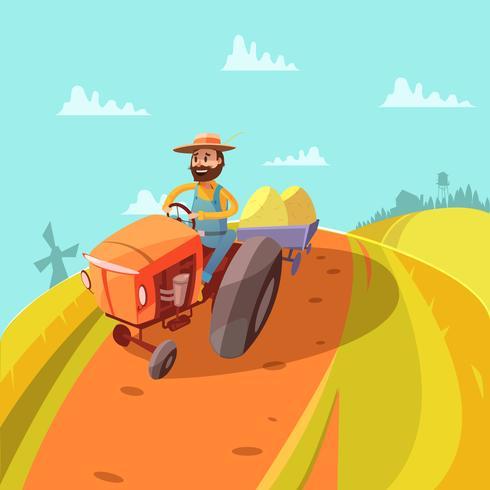 Farmer Cartoon Hintergrund vektor