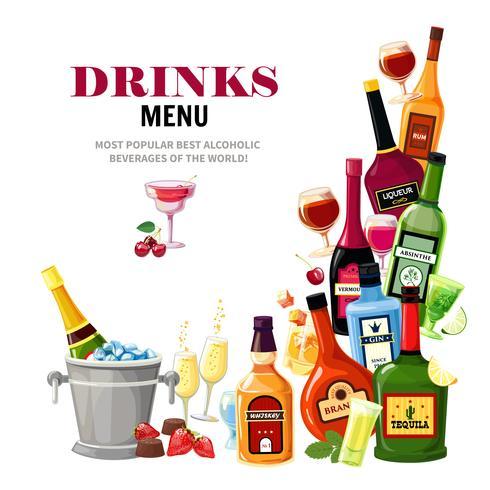 Alkoholische Getränke trinken Menü-flaches Plakat vektor