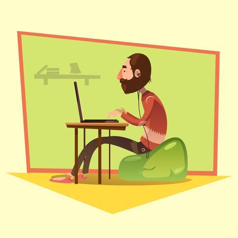 Programmerare Cartoon Illustration vektor