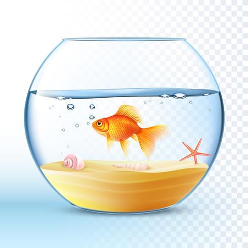 Guldfisk i rund skålaffisch vektor