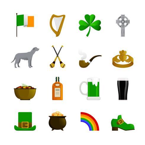 Irland flache Farbsymbole vektor