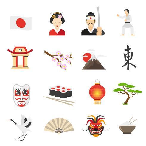 Japan Ikoner Set vektor