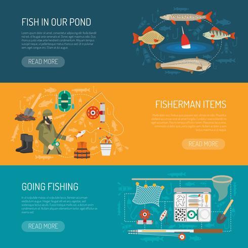 Fischen-Banner eingestellt vektor