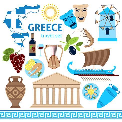 Griechenland-Symbol-touristische Satz-flache Zusammensetzung vektor