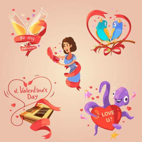 Valentinstag retro Cartoon-Set vektor