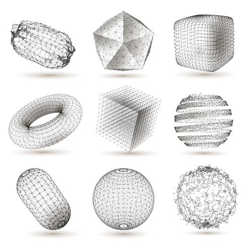 Digital Geometric Shapes Set vektor