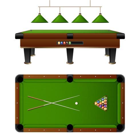 Pool-Billardtisch und Möbel-Set vektor