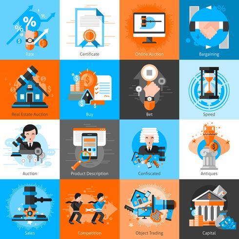 Samling av ikoner för auktionsförhandlingar vektor