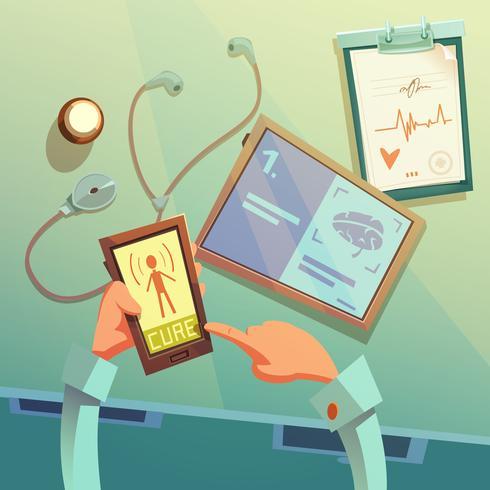 Online medicinsk hjälp bakgrund vektor