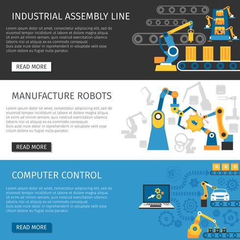 Industrial Assembly Line Flat Banners Set vektor