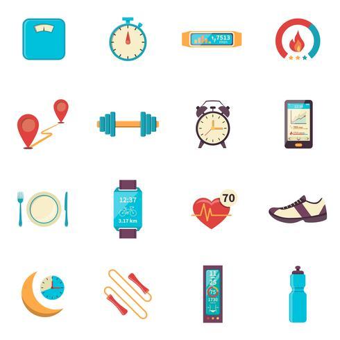 fitness tracker platt färg ikoner vektor