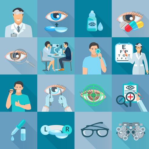 Augenarzt Augenarzt Flat Icons Set vektor