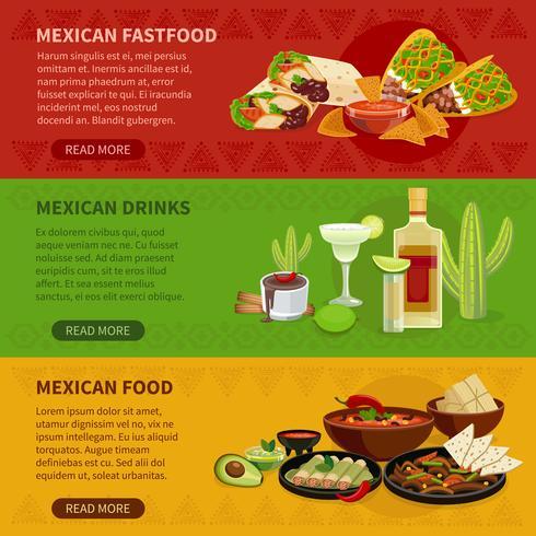 Mexikanisches Lebensmittel 3 horizontale Banner gesetzt vektor