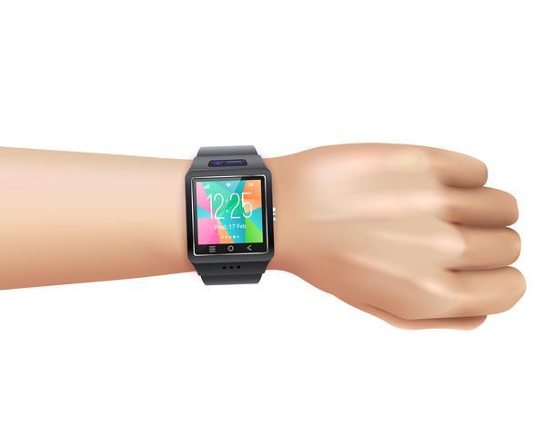 smart klocka realistisk till hands vektor