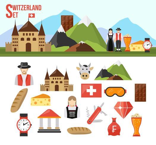 Schweiz-Symbole gesetzt vektor
