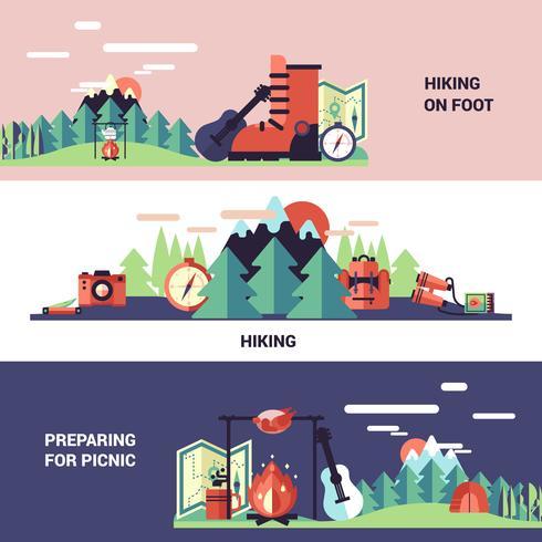 Vandring och picknick horisontella banderoller vektor