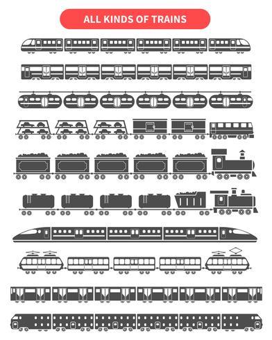 Tåg svart uppsättning vektor