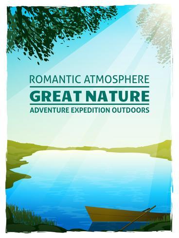 See-Natur-Landschaftshintergrund-Plakat vektor