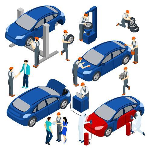 Auto Service Konzept Set vektor
