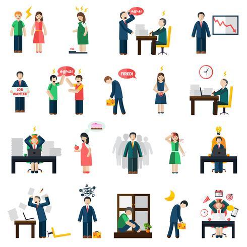 Stress depression mental hälsa ikoner uppsättning vektor