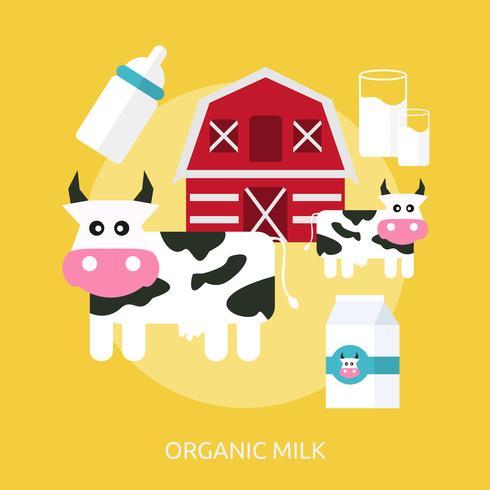 Ekologisk mjölk Konceptuell illustration Design vektor