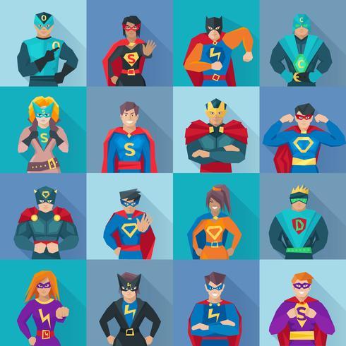 Superheld Square Icons Set vektor