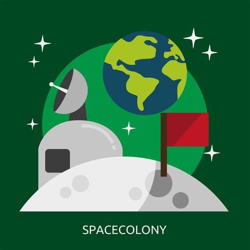 Spacecolony konzeptionelle Darstellung Design vektor
