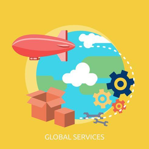 Globala tjänster Konceptuell illustration Design vektor