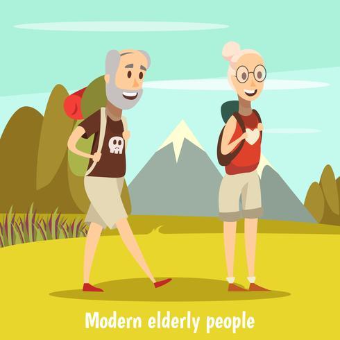 Moderna Äldre Människor Bakgrund vektor