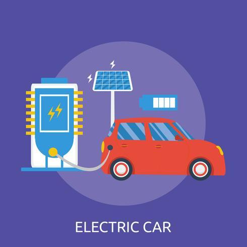 Elektrisk bil Konceptuell illustration Design vektor