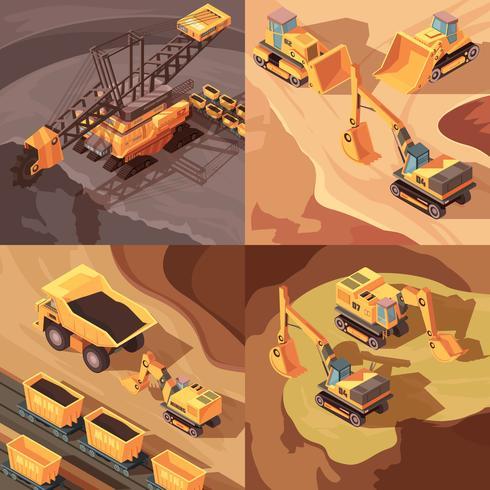 stenbrytning gruva designkoncept vektor