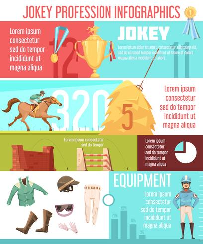 Jockey Beruf Infografiken Layout vektor