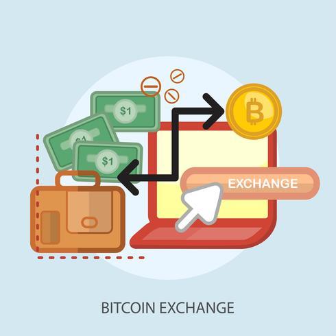 Bitcoin Exchange Konceptuell illustration Design vektor