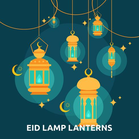 Eid Lamp Lenterns Begriffsillustration Design vektor