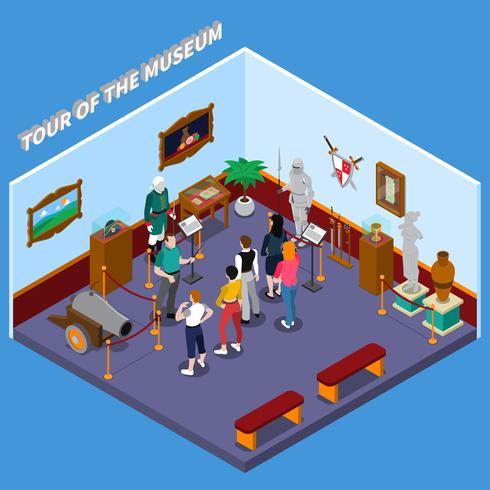 Tour of Museum Isometric Composition vektor