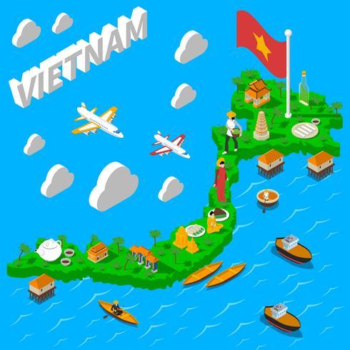 Vietnam kartor turistisk isometrisk affisch vektor