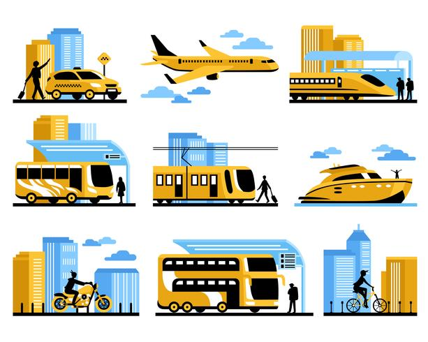 Reisende Leute lokalisierten dekorative Ikonen eingestellt vektor