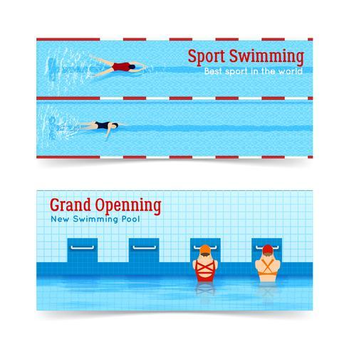 Sport Schwimmen Grand Openning Banner Set vektor