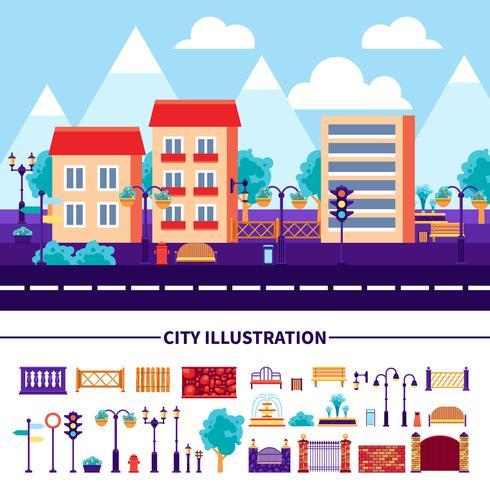 Ställ in ikoner för stadsillustrationer vektor