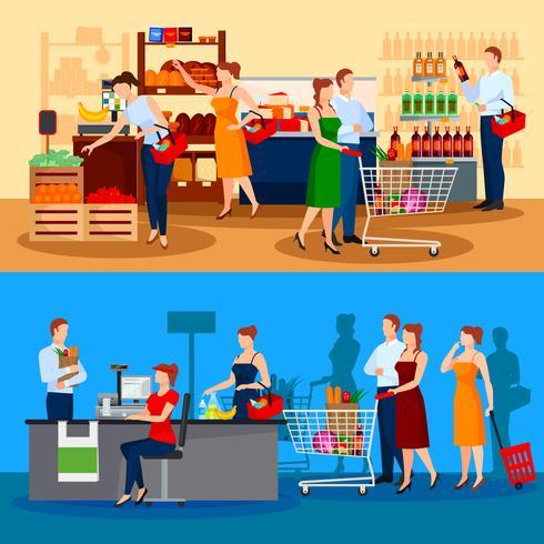 Kunder av Supermarket Compositions vektor