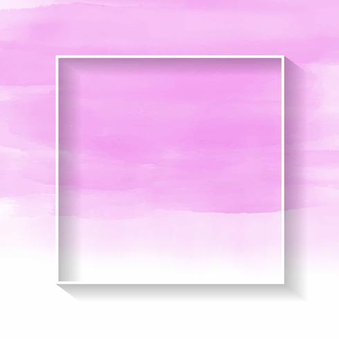 Vit ram på rosa akvarellstruktur vektor