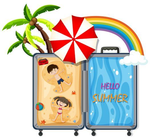 Ein Gepäck mit Strandreisen vektor