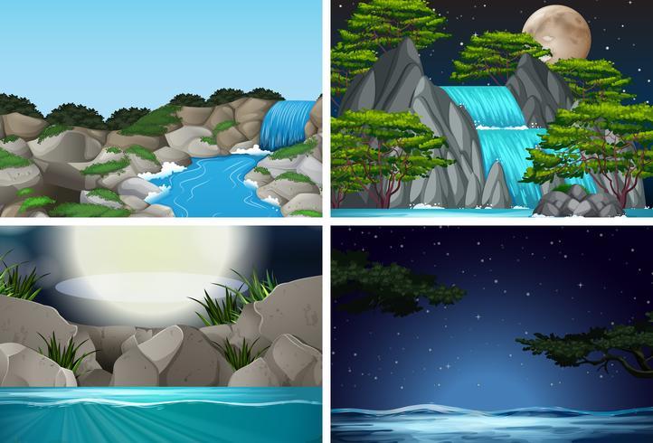Set med vattenfall i naturbakgrund vektor