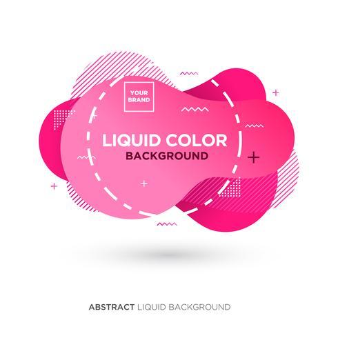 Abstrakte flüssige rosa Farbfahne mit Linie Rahmen und Marke, die Logo platziert vektor