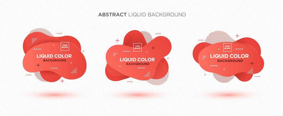 Modern abstrakt flytande vektor bannersats. Platt geometrisk vätskeform med gradientfärger och memphis designelement. Modern vektor mall, mall för design av en logotyp, flygblad eller presentation.