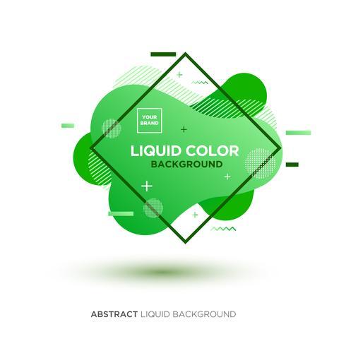 Abstrakt flytande grön färgbanner med linjeram och märkeplacering Logo vektor