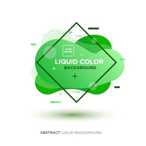 Abstrakte flüssige grüne Farbfahne mit Linie Rahmen und Marke, die Logo platziert vektor