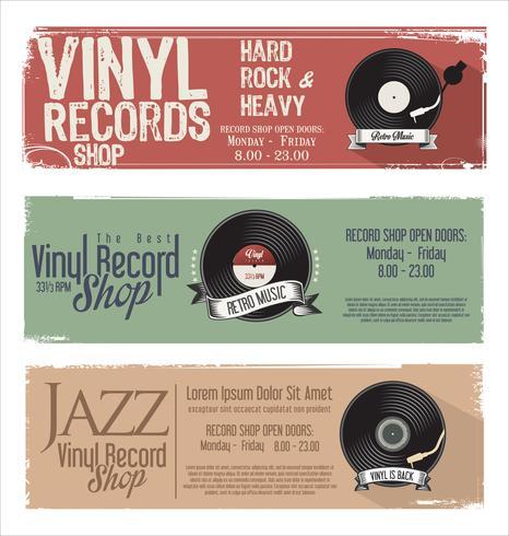 Vinyl rekordbutik retro grunge banner vektor