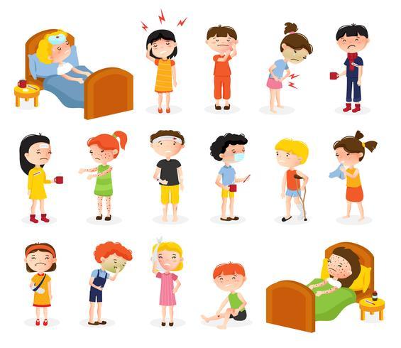 Kranke Kinder Doodle Set vektor